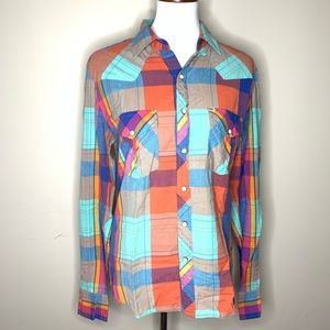 Salt valley western UO multi color flannel size s